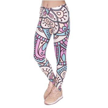Mandala Turquoise And Pink Aztec Leggings