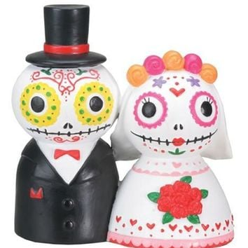 Sugar Skull Bride Groom Day of the Dead Wedding Cake Topper Statue 4H