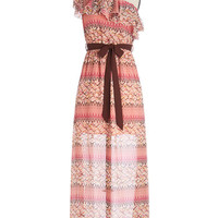 ModCloth Long One Shoulder Maxi Pixel Me in Pink Dress