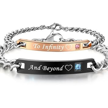 His & Hers Matching Set Titanium Stainless Steel To Infinity And Beyond Couple Bracelet in a Gift Box