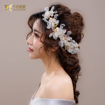 Gorgeous women headband Gold Plated Leaf pearl hair jewelry silk floral hairband bridal crown wedding accessories Gifts zhiyao