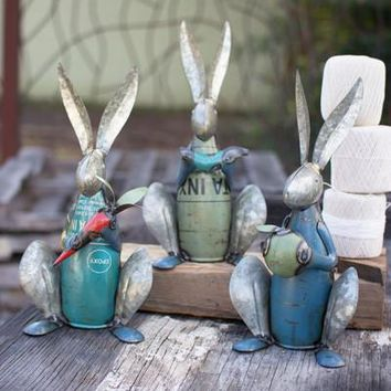 Set Of 3 Recycled Metal Rabbits