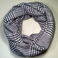 "Handmade Infinity Scarf Extra Soft Flannel - 64"" Loop, Double Layer Super Warm and Soft! Black & White, Christmas Gift"