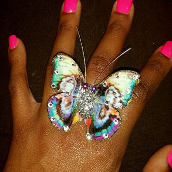 Butterfly Ring Jewelry, Multi Color Butterfly Ring, Blue and White and Pink, Oversize Large Ring, Swarovski crystals and stretch wire band