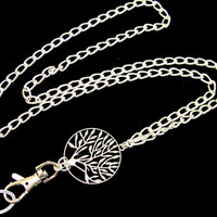 Extra Strong ID Badge Holder Lanyard with Silver Tree of Life