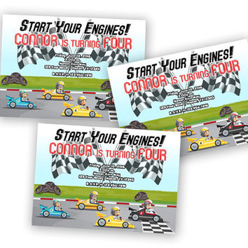 Car Birthday Invitations - Red Race Car Invitation - Start Your Engines - Boys Birthday Ideas - Invites - Boy Party - Race Cars