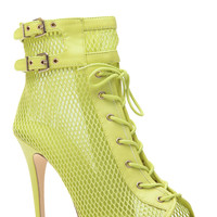 Varsity Chic Lime Lace Up Single Sole Booties