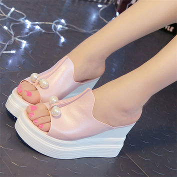 Designer Women Summer Sandals Thick Heel Platform Wedges Sexy Beading Slippers