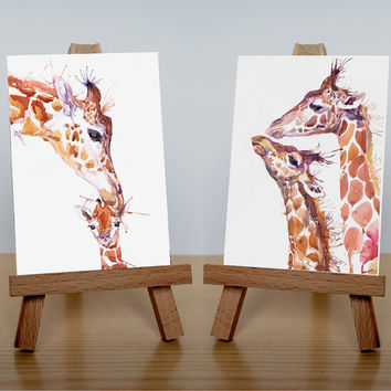 ACEO  Art Prints, wild animals, watercolor, ATC, Artist Trading Cards, Giclee, Set of 2 Signed, collectible card, giraffes