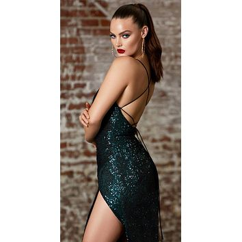 Long Fitted Sequin Gown Emerald Green Gathered Waistline Lace Up Back