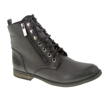 New Design! Dirty Laundry Kranberri Burnished Classic Lace Up Boots (Vegan Black Leather)