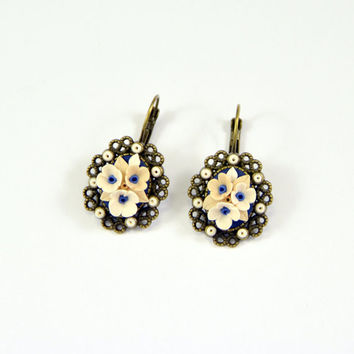 Floral Earrings Romantic Floral Jewelry  Polymer clay Applique Vintage beige blue white