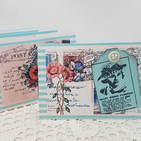Vintage Fashion Note Cards - Striped Note Cards - Pastel Note Cards - Vintage Floral Note Cards - Turquoise Note Cards - Note Card Set