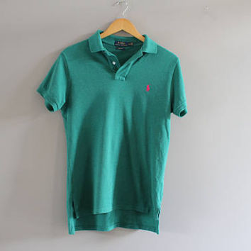 Ralph Lauren Polo Shirt Spruce Green Cotton Knit Classic Polo Button Up Short Sleeve Tee Minimalist Vintage 90s Size S #T180A