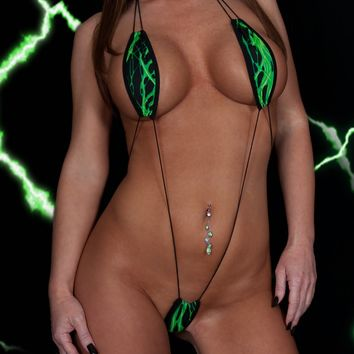 Black with Green Lightning Corded Extreme Micro Slingshot Bikini Sling Teardrop Top Thong Bottom