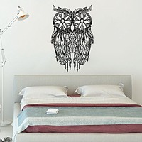 Owl Wall Decal Dreamcatcher Dream Catcher Feathers Night Symbol Indian Vinyl Sticker Decals Home Decor Art Bedroom Design Interior C542