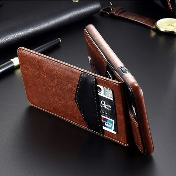 Vintage PU Leather Phone Case with Credit Card Slots