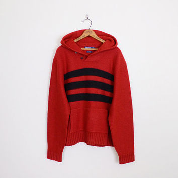 polo ralph lauren sweater, ralph lauren polo, black red sweater, red stripe sweater, hoodie sweater, hooded sweater, red wool sweater, xl