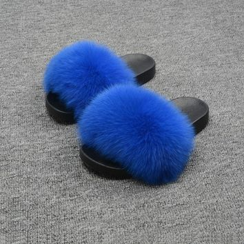 New Women Real Fox Fur Indoor Outdoor Flat Slipper Fashion Soft Slider 66018F