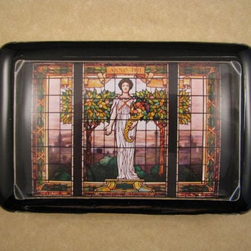 Stained Glass Art, Tiffany-Style Glass, Abundance Glass, Stained Glass Window, Large Rectangle, Glass Paperweight, Desk Accessory