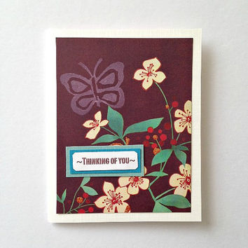 Spring Butterfly and Flowers Thinking of You Small Hello Handmade Greeting Note Card
