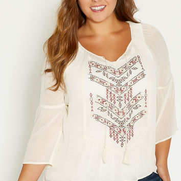 plus size chiffon top with ethnic embroidery