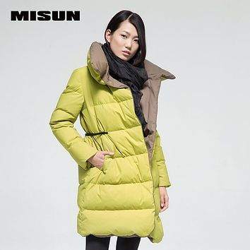 Misun female medium-long tiebelt soft down coat turn-down collar thickening patchwork outerwear women's down jackets winter warm