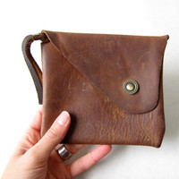 Vintage Leather Wallet. Small Leather Wristlet. Natural leather Pocket Purse.