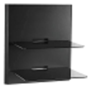 OmniMount OBWF2 Double Glass Low Profile Wall Shelf - Mounts Under TVs! (Satin Black with Black Glass)