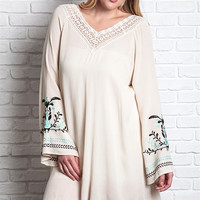 Plus Size Boho Tunic Dress with Open Back