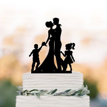Family Wedding Cake topper with girl, funny wedding cake toppers with boy, cake topper bride and groom silhouette with child
