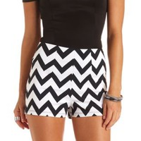 Chevron Print High-Waisted Shorts by Charlotte Russe - Black/Ivory