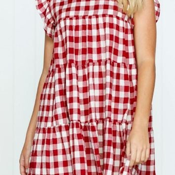Round Neck  Patchwork  Checkered  Extra Short Sleeve Casual Dresses