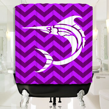 White Baracuda with Deep Purple Chevron Shower Curtain