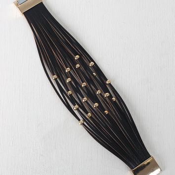 Beaded Vegan Leather Banded Bracelet