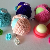 Pastel Peach Kawaii EOS Lip Balm Cozy with Sparkly Heart Button Closure, Split Ring, and Lobster Clasp