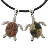 Set Of 2 Swimming Turtle Pendants -Red Picasso And Artistic Jasper Stones -56mm x 38mm -Cord Necklace Included -Sold as a set