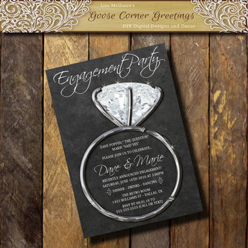 Engagment Invitation, Engagement Party invite,Announcement Chalkboard invitations, Couples Shower, Silver Diamond Ring,Black & Silver invite