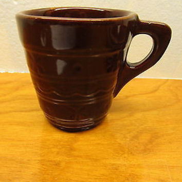 VINTAGE McCOY DARK BROWN POTTERY CUP MADE IN THE USA