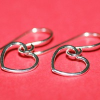 Small Sterling Silver Heart Earrings by MindyG on Etsy