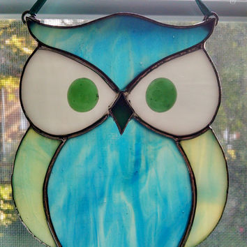 Stained Glass Owl Suncatcher - Bird Ornament - Window Decor - Blue Green Owl - Nature Decor - Housewarming Gift