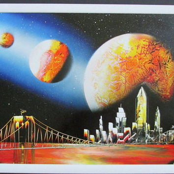 new york spray paint art,framed artwork,unique painting gift,galaxy painting,space painting,galaxy decor,space decor,new york city skyline