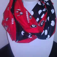 Georgia Bulldogs Infinity Scarf - Red Black Polka Dots - Cotton Lightwieght Cowl for Women