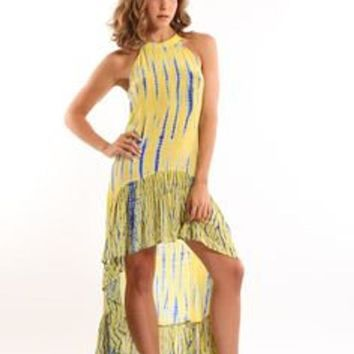 Women Tie Dye High Low Flamenco Silk Dress Vacation Beach Kaftan
