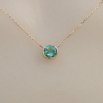 Paraiba Color Blue Green Tourmaline 14k Yellow Gold Bezel Set Layering Necklace Gemstone Jewelry Keepsake Gift for Her