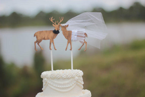 deer hunter wedding cake topper buck and doe and groom deer wedding from 13442