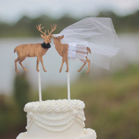 Buck and doe bride and groom-deer wedding cake topper-hunter wedding cake topper-hunting cake topper-deer wedding-rustic wedding
