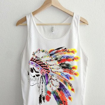 indian skull  Casual Wear Sporty Cool Tank top Funny Tank Cute Direct to garment