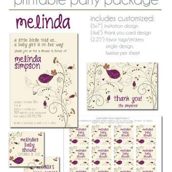 Melinda Little Birdie Basic Printable Party Package: Invitation Thank You Card & Favor Tag Sticker Set DIY Baby Bridal Shower Birthday