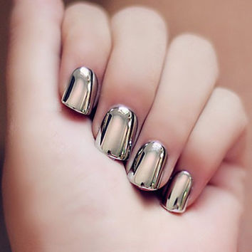24 PCS Silver Heavy Metal Nails Art